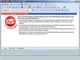 The WYSIWYG editor enables simple import or creation of Informer Messages in most media formats