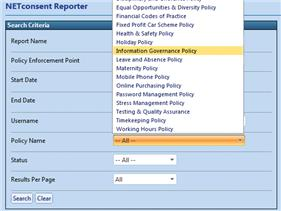 On screen reports can be filtered by user, specific policy and/or status